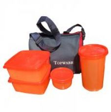 Topware Plastic Orange Lunch Box With Insulated Bag - 4 Pcs for Rs. 199