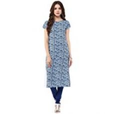 Janasya Women's Crepe Straight Digital Printed Kurta (JNE1393-MULTI-KR-091-L) for Rs. 365