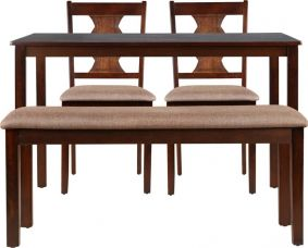 Buy HomeTown Artois Engineered Wood 4 Seater Dining Set  (Finish Color - Dark Walnut) from Flipkart