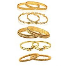 Zeneme Combo Of Victoria Bangles, Pearls Bangles, Trendy Gold Plated And Coinage Bangles For Women - Pack Of 10 (2.4) for Rs. 549