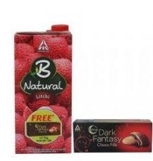 Buy B-natural Fruit Juice, Litchi, 1000ml with Free Dark Fantasy Chocofills, 75g from Amazon