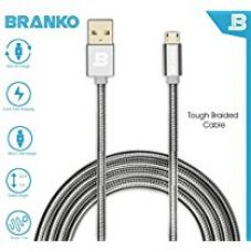 Branko Micro USB Cable | indestructible Metal Braided Micro USB Cable with charging speeds up to 2.4Amps (Silver) for Rs. 499
