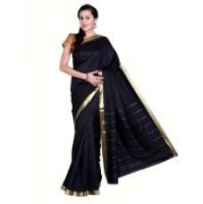 Flat 55% off on Parchayee Black  Art Silk  Plain Saree Without Blouse