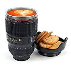Buy Inovera Camera Lens Coffee Mug Flask With Cookie Holder, Black from Amazon