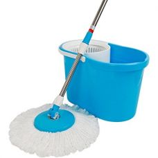 Buy Generic Easy Magic Floor Mop 360° Bucket 2 Heads Microfiber Spin Spinning Rotating Head (Color May Vary) from Amazon