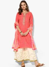 Buy Biba Peach Embellished Polyester Palazzo Kameez Dupatta for Rs. 2925