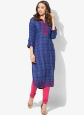 Flat 40% off on Biba Navy Blue Embellished Viscose Kurta