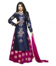 Buy Mahalaxmi Fashion Anarkali Designer Blue Color Partywear Semi-stitched Cotton Dress Material With Embroidered Work MFD-31A from Rediff