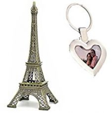 Buy 15 CM Eiffel Tower Showpiece along with Exclusive Heart Shape Photo Frame and Metal Key Ring by Lavanaya Silver from Amazon