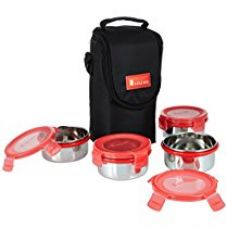 Buy Solimo Stainless Steel Lunch Box Set with Bag, 300ml, 11cm Diameter, 4-Pieces, Red Lid from Amazon