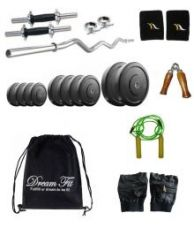 Flat 33% off on Dreamfit 15 Kg Home Gym With 2 Dumbell Rods, 3ft Curl Rod, Gym Back Bag And Accessories