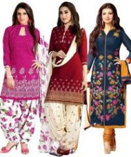 Buy Buy One Get Two Crepe Unstitched Salwar Suitprlt2004-06-07 from Rediff