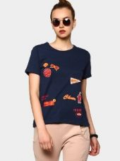 Buy abof Women Navy Blue Quirky Print Regular Fit T-shirt from Abof