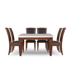Buy Bruce Eight Seater Dining Set Beige And Black from Fabfurnish