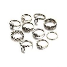 Karatcart Antique Oxidised Silver Colour Bohemian Midi Rings For Women for Rs. 305