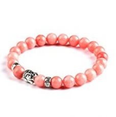 Buy Hot And Bold Divine Collection Peach Pink (Silver Buddha) Alloy | Natural Stones Bracelet Strechable For Unisex from Amazon