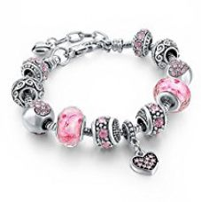Hot and Bold Sterling Silver Plated Pandora Heart/Valentine/Love Charms DIY Bracelet. Daily/Party Wear Stylish Fashion Jewellery for Women/Girls for Rs. 899