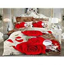 Belomoda 5D Floral Rose Print Double Bedsheet With 2 Pillow Cover With Zipper Pouchs With Zipper Pouch for Rs. 749