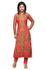 Buy Womens Indian Ethnic Designer Pink Georgette Party wear Wedding Suit With Dupatta and Unstitched Salwar (Free Size) from Amazon