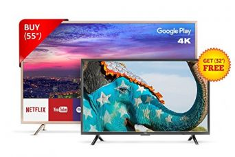 Buy TCL 139.7 cm (55 inches) L55P2MUS Android M 4K UHD LED Smart TV (Gold) + FREE TCL 81.28 cm (32 inches) L32D2900 HD Ready LED TV from Amazon
