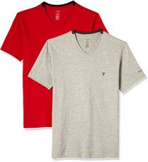 Buy Van Heusen Men's Cotton Rich V-Neck T-Shirt (Pack of 2) (8907522409323_60001_Small_Grey Melange and Scarlet Sage) from Amazon