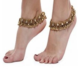 Buy Shining Diva Gold Plated Anklets for Women (5634a) from Amazon