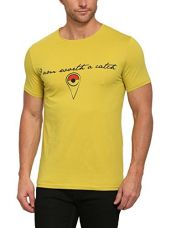 Buy abof Men Yellow Printed Regular Fit T-shirt from Amazon