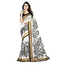 Buy Rensil Women's Clothing Art Silk Fabric Printed Saree with unstitched blouse piece ( RenWhite & Black Saree , White & Black Color , Free Size ) from Amazon