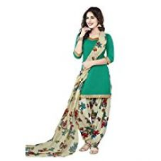 Buy Ishin French Crepe Green & White Printed Unstitched Dress Material from Amazon
