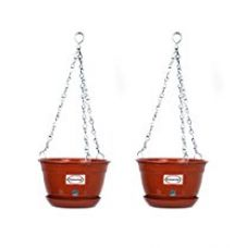 Buy Pepper Agro GPA1023 Hanging Planter with Metal Chain and Base Plate (Terracotta) from Amazon