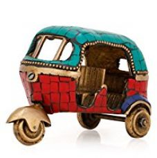 Collectible India Auto Rickshaw Tuk-tuk Turquoise Showpiece Solid Handcarved Turquoise Sculpture for Rs. 1,899