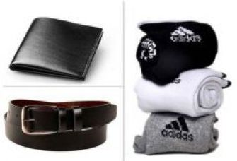 Flat 62% off on Jack Klein Combo Of Black Leather Belt And Wallet With Socks
