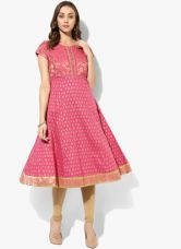 Get 40% off on Biba Pink Printed Poly Cotton Anarkali