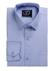 Buy Formals by Koolpals-Cotton Blend Shirt White Vertical Stripes on Light Blue from Amazon