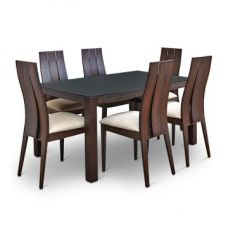 Buy Carlton Glass Top Six Seater Dining Set Burn Beech for Rs. 49,900