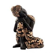 ECraftIndia Pleasing Buddha on Knee Polyresin Showpiece (16.25 cm x 12.5 cm x 22.5 cm, Red and Brown) for Rs. 799