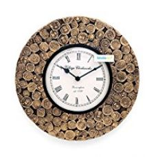 Buy Collectible India Antique Coins Studded Wall Clock/Unique Decorative Analog Clock/Brass Round Wall Clock (12X12) / Coin Wall Clock from Amazon