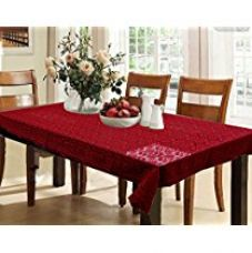 Buy Kuber Industries™ Dining Table Cover Maroon Cloth Net For 6 Seater 60*90 Inches (Self Design) from Amazon