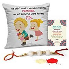 TiedRibbons Rakhi for Brother Printed Cushion(12 Inch X 12 Inch) with Rakhi and Roli Chawal pack for Rs. 349