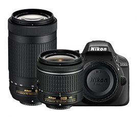 Nikon D3300 24.2MP Digital SLR (Black) + AF-P DX NIKKOR 18-55mm f/3.5-5.6G VR Lens + AF-P DX NIKKOR 70-300mm f/4.5-6.3G ED VR Lens + Memory Card + Camera Bag for Rs. 36,922
