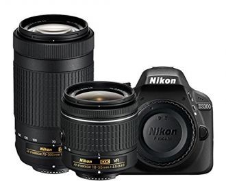 Buy Nikon D3300 24.2MP Digital SLR (Black) with AF-P DX Nikkor 18-55mm and 70-300mm VR Lens, 16GB Memory Card and Camera Bag from Amazon