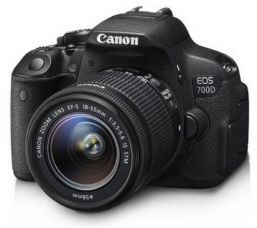 Canon EOS 700D 18MP Digital SLR Camera (Black) with 18-55mm IS II and 55-250mm IS II Lens,  Memory card and Carry Bag for Rs. 42,446