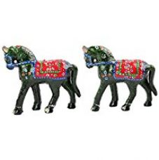 Jaipuri Haat Handicrafted set of 2 showpiece Big Size Horse for decoration and Gift purpose (12x11 CM) (Green) for Rs. 199