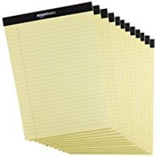Buy AmazonBasics Legal/Wide Ruled 8-1/2 by 11-3/4 Legal Pad - Canary (50 sheets per pad, 12 pack) from Amazon