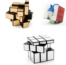Emob Magic Rubik Cube Puzzle Brainstorming Game - Gold + Silver & 3x3(3 Pieces) for Rs. 399