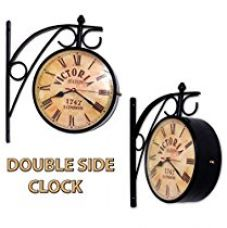 Buy Home Sparkle Vintage Style Double-Sided Mild Steel Station Clock (14 cm x 14 cm x 25 cm, Black) from Amazon
