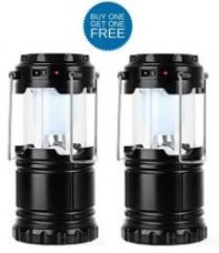 Buy Buy 1 Get 1 Free Solar Rechargeable LED Camping Lantern Light for Rs. 429