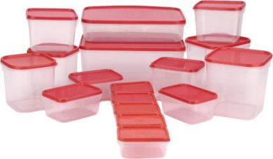 All Time Polka  - 125 ml, 250 ml, 400 ml, 600 ml, 1200 ml, 1500 ml, 3000 ml Plastic Multi-purpose Storage Container(Pack of 17, Red) for Rs. 645