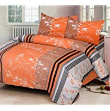 Buy IWS Luxury Printed 140 TC Cotton Double Bedsheet with 2 Pillow Covers - Orange from Amazon