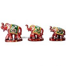 Jaipuri Haat Handicrafted set of 3 showpiece Elephant for decoration and Gift purpose (9X6Cm ,7X 5Cm ,6X 4 Cm) for Rs. 229